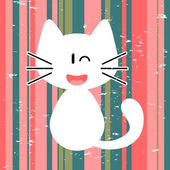 Vector card with cute white kitty — Stock Vector