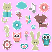 Babyish cute stickers set — Stock Vector