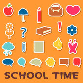 Cute childish stickers school elements — Stock Vector