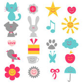 A set of cute childish elements — Stock Vector