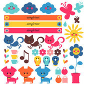 A set of cute elements for kids — Stock Vector
