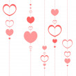 Romantic background with pink hearts — Stok Vektör