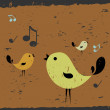 Cute card with singing birds — Stock Vector