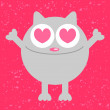 Funny cat in love - Stock Vector