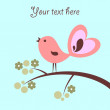 Beautiful card with cute pink bird - Stok Vektör