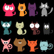 Set of various colorful funny cats — Stock Vector