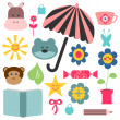 A set of cute childish elements for design - Stock Vector