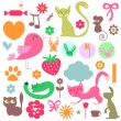 Stock Vector: Babyish elements cute animals and objects set