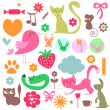 Babyish elements cute animals and objects set — Stock Vector