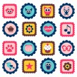 Stock Vector: Cute childish stamps set