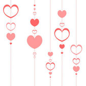 Romantic background with pink hearts — Stock Vector