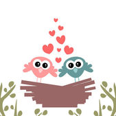 Cute couple of birds in the nest — Stock Vector