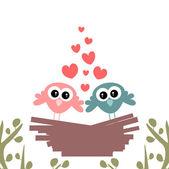 鳥は巣の中のかわいいカップル — ストックベクタ