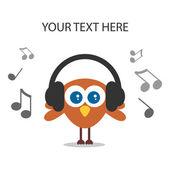 Cartão com pássaro bonito ouvir música — Vetor de Stock