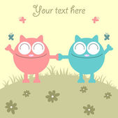 Couple of cats having fun on the meadow — Stock Vector
