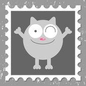 面白い猫かわいいグリーティング カード — ストックベクタ