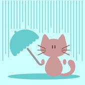 Niedliche kleine katze mit regenschirm unter regen — Stockvektor