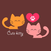 Cute couple of cats in love romantic card — Stock Vector
