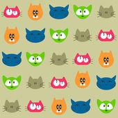 Naadloze patroon met verschillende gezichten van de kat — Stockvector
