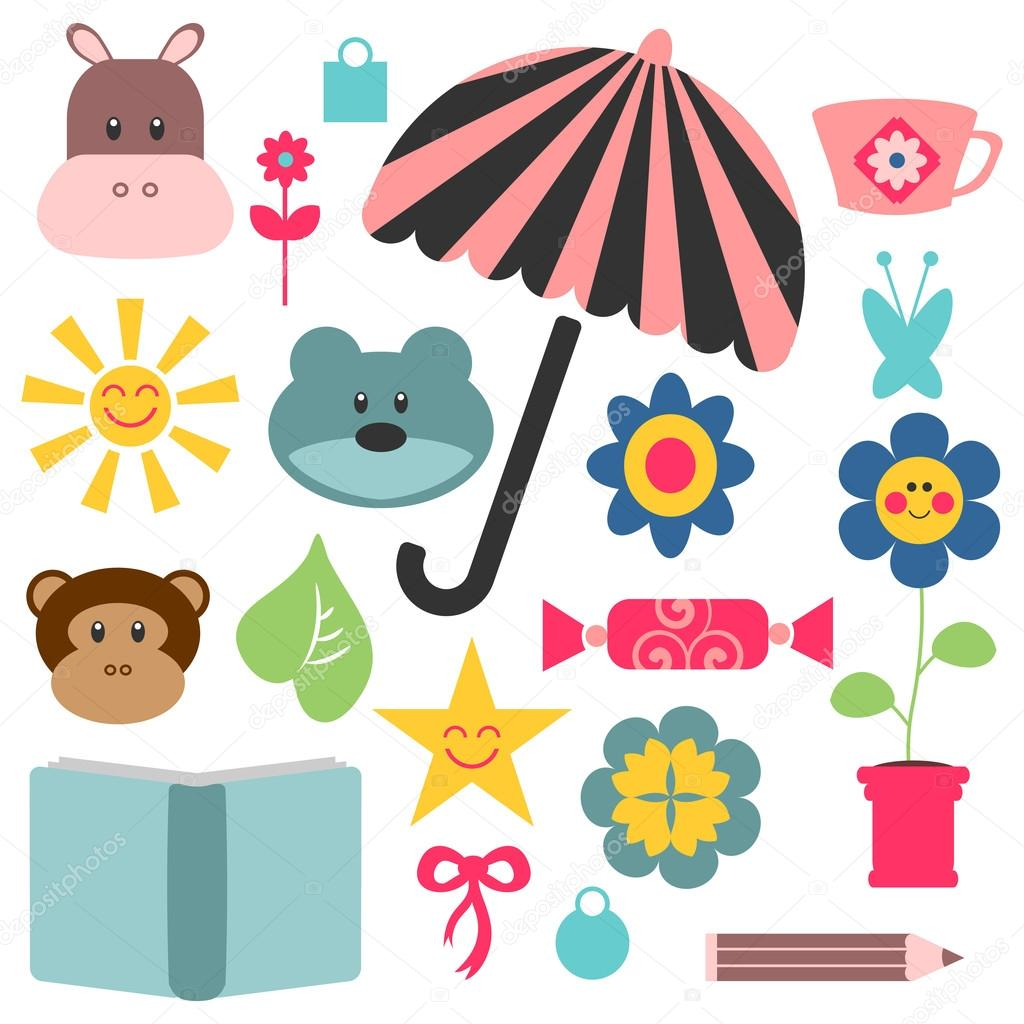 A set of cute childish elements for design — Stock Vector #12736267