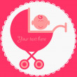 Royalty-Free Stock Vector Image: Baby girl in stroller pink card