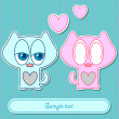 Romantic valentine card cute couple of kittens - Stockvectorbeeld