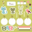 Stock Vector: Cute scrapbook elements for baby