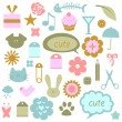 Stock Vector: Set of cute babyish elements