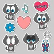 Cute romantic stickers set - Vettoriali Stock 