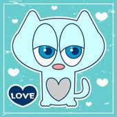 Cartão azul romântico com gatinho bonitinho — Vetor de Stock