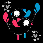 Cute couple of birds being in love — Stock Vector