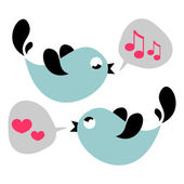 Cute birds singing love card — Stock Vector