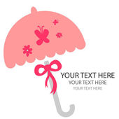 粉红色的雨伞卡设计 — 图库矢量图片