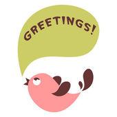 かわいい鳥のグリーティング カード — ストックベクタ