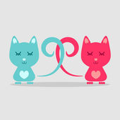 Two kittens being in love — Stock Vector