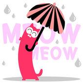 Cute kitty mit schirm im regen — Stockvektor