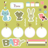 Cute scrapbook elements for baby — Stock Vector