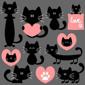 Romantic set of cute cats — Stock Vector