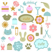A set of cute babyish elements — Stock Vector