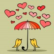 Valentine card two cute birds under the umbrella — Stock Vector