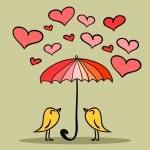 Valentine karty dvě roztomilé ptáky pod deštník — Stock vektor