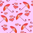 Stock Vector: Pink feminine seamless pattern with umbrellas and hearts