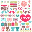 Big set of various romantic elements for design — Stock Vector #13285764