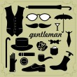 Set of vector elements for gentlemen — Stock Vector