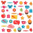 A set of cute colorful childish elements for design — Stock Vector