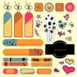 Set of beautiful elements for scrapbook floral theme — Stock Vector