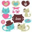Cats in love romantic vector set of elements — Stock Vector #13285796