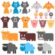 Stock Vector: Set of cute domestic animals