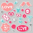 A set of beautiful romantic stickers — Stock Vector