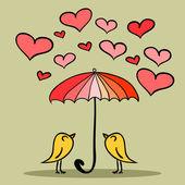 Valentine card two cute birds under the umbrella — Stockvektor